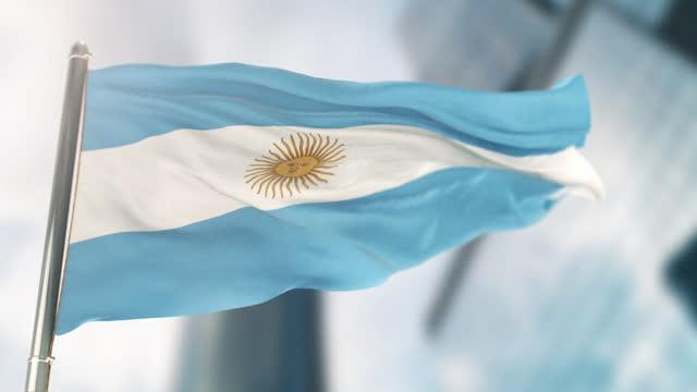 nationalflagge von argentinien. zeitlupe - argentinische flagge stock-videos und b-roll-filmmaterial