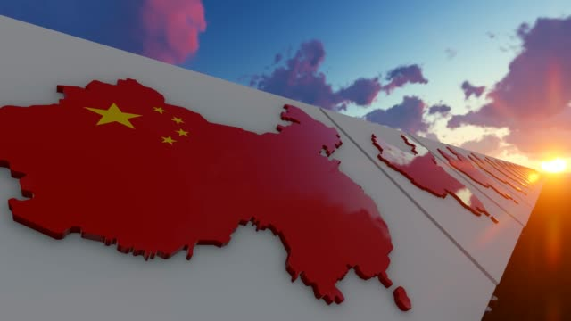 national flag of china on map background - chinese flag stock videos & royalty-free footage