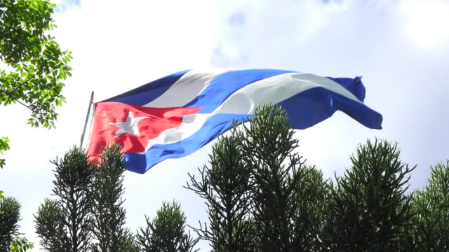 national flag of cuba waving flying in the air. cuban flag patriotic symbol - simply red点の映像素材/bロール