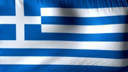 National flag of Greece. Seamless looping 4k full realistic greek flag waving against background.