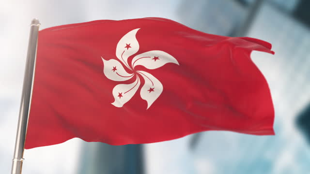 national flag of hong kong. slow motion - hong kong flag stock videos & royalty-free footage