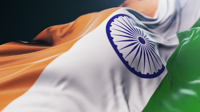 national flag of india close-up. slow motion - indian politics stock videos & royalty-free footage