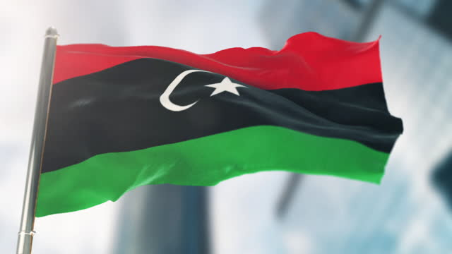 national flag of libya. slow motion - satin stock videos & royalty-free footage