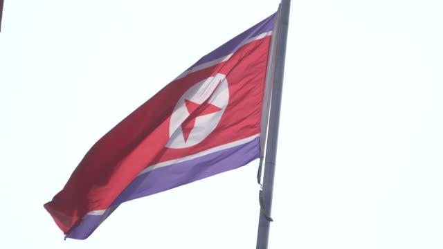 national flag of north korea flying in the sky - 世界の国旗点の映像素材/bロール