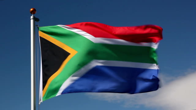national flag of south africa - durban stock videos and b-roll footage