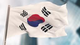 National Flag of South Korea. Slow Motion