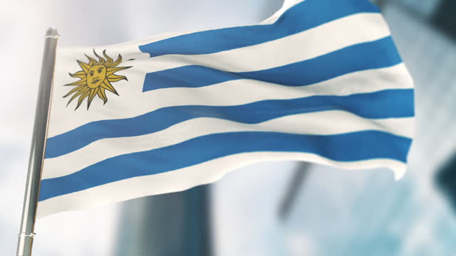 national flag of uruguay. slow motion - uruguaian flag stock videos & royalty-free footage
