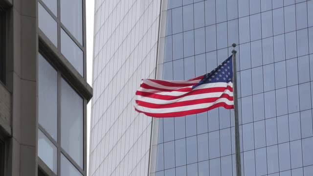 National Flag & One World Trade Centre, Manhattan, New York City, New York, USA, North America
