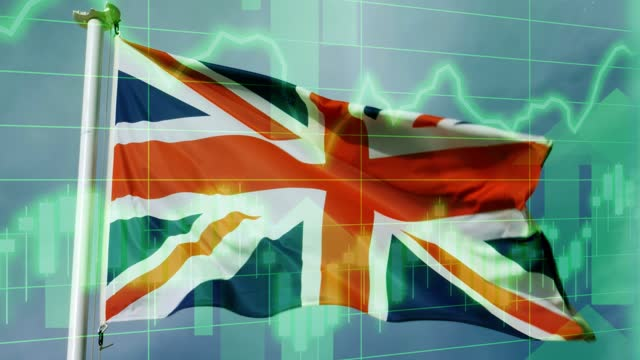 uk national flag with positive growth chart and graph data. concept piece to indicate improving gdp, stock market crash, recession, depression, inflation, deflation, bull market, good national, economic and business performance - bull market stock videos & royalty-free footage