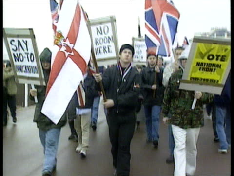 violence itn england kent dover ms police accompanying national front marchers ms national front marchers towards pull - national front stock videos & royalty-free footage