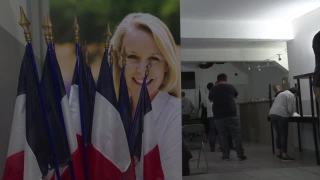 national front members following wednesday's french presidential tv debate between marine le pen and emmanuel macron praise their candidate as... - national front stock videos and b-roll footage