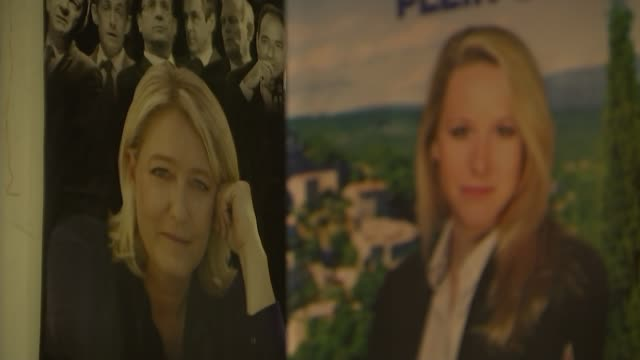 vidéos et rushes de national front mp marion marechal le pen interview; national front poster in marion marã©chal-le pen's office showing images of marion marã©chal-le... - poste