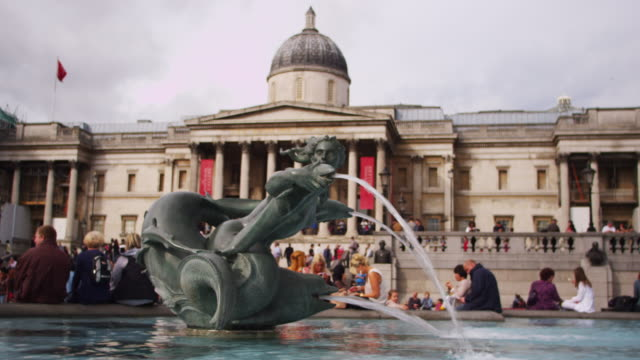 LONDON - OCTOBER 9: National Gallery entrance and fountain on October 9, 2011 in London.