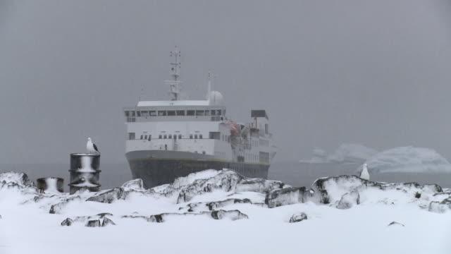 WS National Geographic Explorer ship anchored at snowy shore / Detaille Island, Antarctic Peninsula, Antarctica