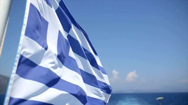national greek flag on tourboat - greek flag stock videos & royalty-free footage