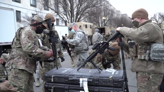 national guard military police stage near the grounds of the u.s. capitol on the morning of january 17 in washington, dc. after last week's riots at... - event stock videos & royalty-free footage