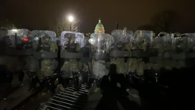 """national guard personnel clear pro-trump supporters after they violently stormed the u.s. capitol as part of the """"stop the steal"""" rally on january... - success stock videos & royalty-free footage"""