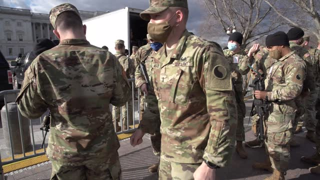 national guard soldiers are issued their m4 rifles and ammunition on the east front of the u.s. capitol on january 17, 2021 in washington, dc. after... - gun stock videos & royalty-free footage