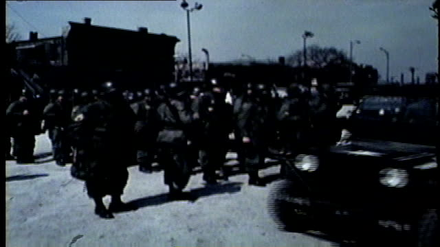 wgn national guard soldiers arrive in chicago during west side riots after martin luther king jr was assassinated in memphis on april 4 1968 - 1968年点の映像素材/bロール