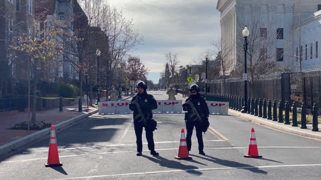 national guard soldiers guarding closed road in area of capitol complex in preparation for inauguration day, in washington d.c.,on monday, january... - defending stock videos & royalty-free footage