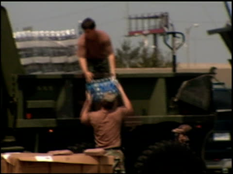 national guard troops unloading water during hurricane katrine recovery - 2005 stock videos & royalty-free footage