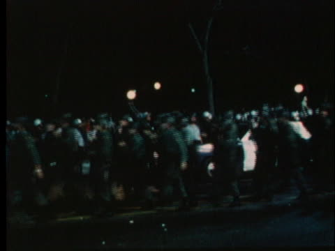 national guardsmen march through the streets, preparing for confrontation from protesters at the 1968 democratic national convention in chicago. - 1968 stock videos & royalty-free footage