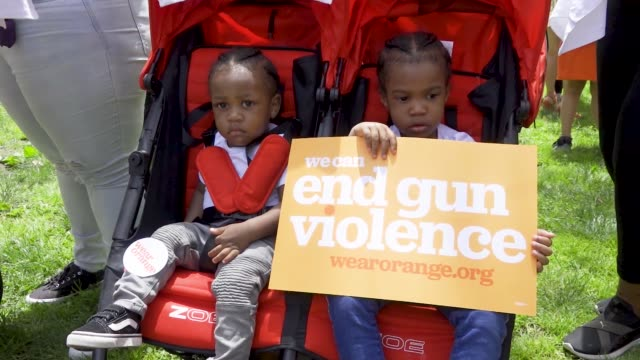 national gun violence awareness day is the first friday in june people rallied at cadman plaza park in brooklyn and marched across the brooklyn... - protestor stock videos & royalty-free footage