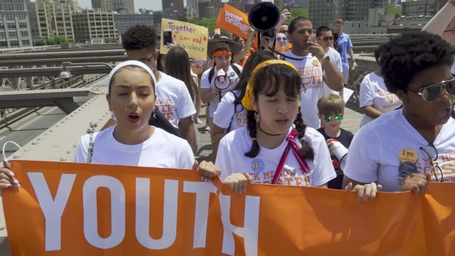 national gun violence awareness day is the first friday in june. people rallied at cadman plaza park in brooklyn and marched across the brooklyn... - gun control stock videos & royalty-free footage