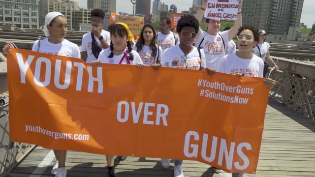 national gun violence awareness day is the first friday in june. people rallied at cadman plaza park in brooklyn and marched across the brooklyn... - march for our lives stock videos & royalty-free footage