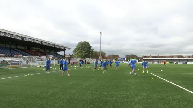 Sutton United reap financial rewards of FA Cup run ENGLAND London Sutton Gander Green Lane EXT Various shots of Sutton United players training on...