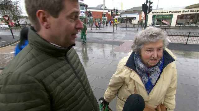 'mystery millionaire' sought in worcester int announcer speaking at microphone in local radio studio / shoppers along pedestrianised high street/ vox... - lottery stock videos and b-roll footage