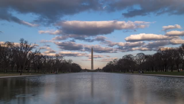 national mall and washington monument from lincoln memorial, washington dc, united states of america, north america - reflecting pool washington dc stock videos & royalty-free footage