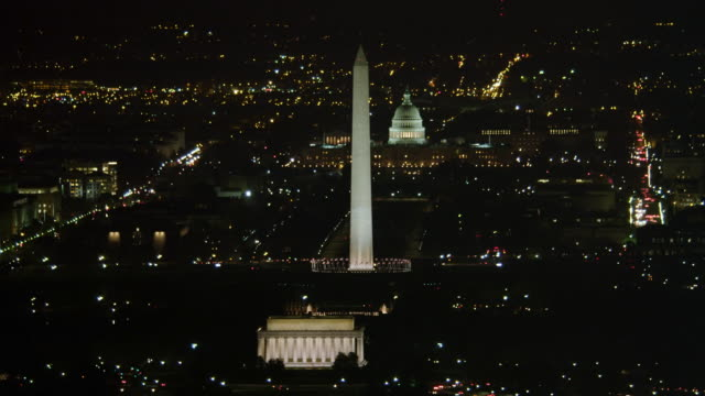 National Mall at night; Lincoln Memorial and Washington Monument with Capitol in distance. Shot in 2011.