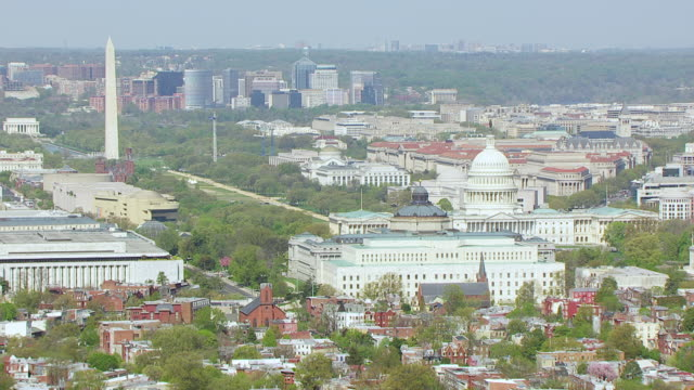 WS AERIAL POV National Mall with US Capitol and Washington Monument / Washington DC, United States