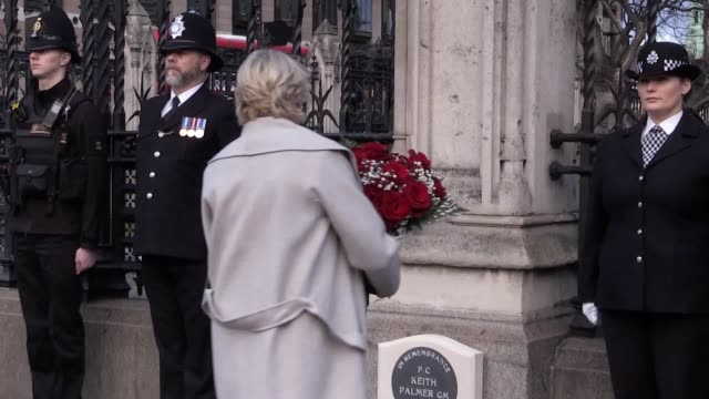 a national memorial has been unveiled outside the carriage gates at the palace of westminster for keith palmer the police officer killed in the... - 警視庁点の映像素材/bロール