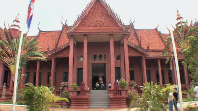 ws national museum exterior, phnom penh, cambodia - cambodia stock videos & royalty-free footage