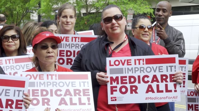 National Nurses United and other organizations protested outside of the Pharmaceutical Research and Manufacturers Of American Headquarters on April...
