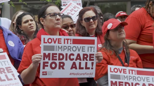 vídeos y material grabado en eventos de stock de national nurses united and other organizations protested outside of the pharmaceutical research and manufacturers of american headquarters on april... - medicare