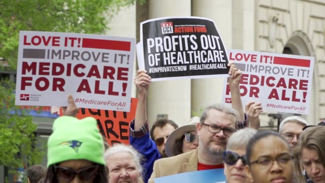 national nurses united and other organizations protested outside of the pharmaceutical research and manufacturers of american headquarters on april... - medicare stock videos & royalty-free footage
