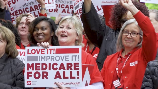 stockvideo's en b-roll-footage met national nurses united and other organizations protested outside of the pharmaceutical research and manufacturers of american headquarters on april... - medicare