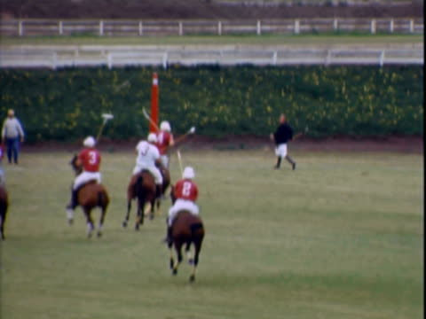 national open polo match pitting fountaingrove ranch versus tulsa, oklahoma / horses running and mallets being used to strike white ball - recreational horse riding stock videos & royalty-free footage