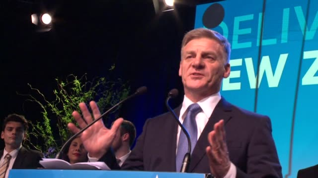 National Party leader Bill English l English arriving to celebratory scenes and giving a speech on stage at National Party election night...
