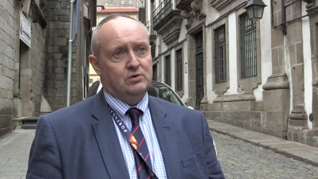 stockvideo's en b-roll-footage met national police chiefs council's lead on football, detective chief constable mark roberts talks about incidents in porto and the causes, reaction... - english football association