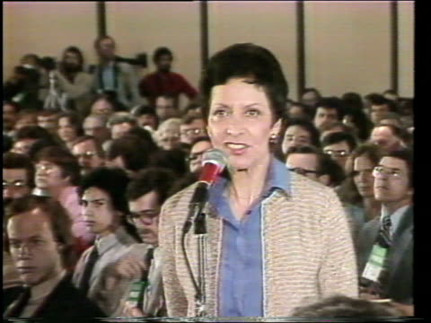 stockvideo's en b-roll-footage met national president of the league of women voters ruth heinerfeld introducing the third event in the 1980 presidential forum series sponsored by the... - ronald reagan amerikaans president