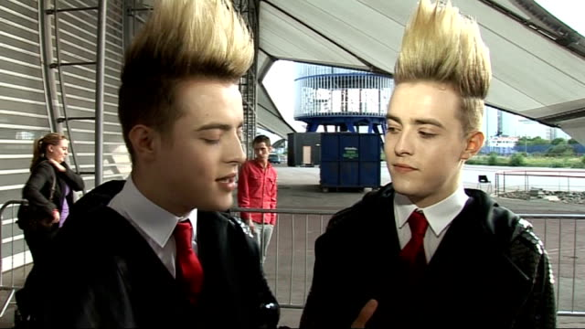 celebrity interviews jedward red carpet interview sot - jedward stock videos and b-roll footage