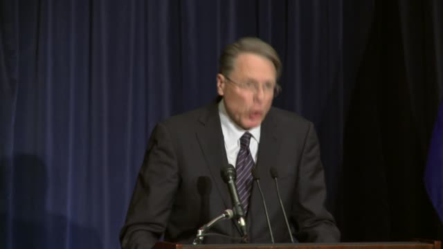 national rifle association executive vice president wayne la pierre press conference following the tragic school shootings at sandy hook elementary... - national rifle association stock videos & royalty-free footage