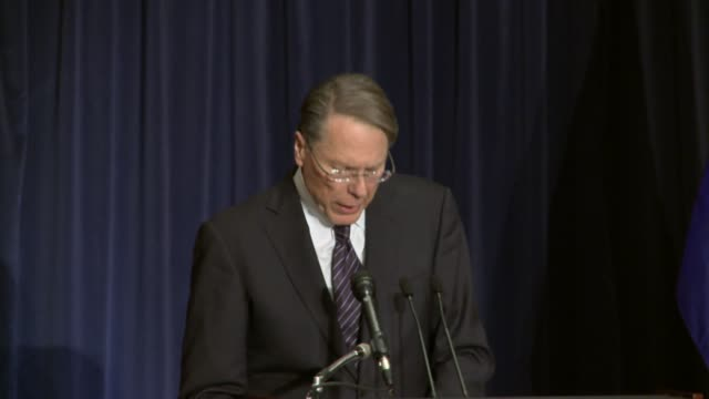 national rifle association executive vice president wayne la pierre press conference following the tragic school shootings at sandy hook elementary... - newtown connecticut stock videos & royalty-free footage