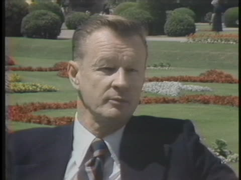 us national security advisor zbigniew brzezinski discusses the need to move the salt ii treaty forward - united states and (politics or government) stock-videos und b-roll-filmmaterial