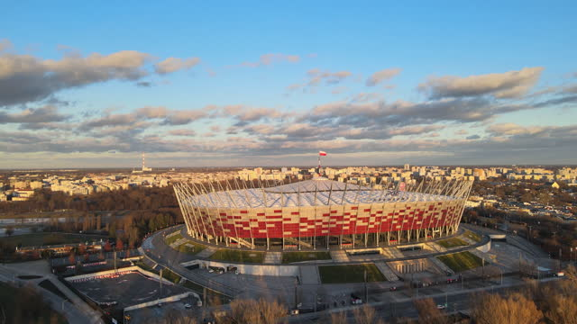 national stadium in warsaw, poland - famous place stock videos & royalty-free footage