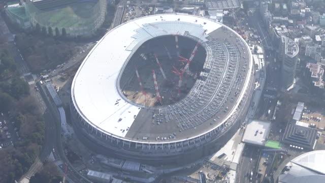aerial, national stadium u/c, tokyo, japan - roof stock videos & royalty-free footage